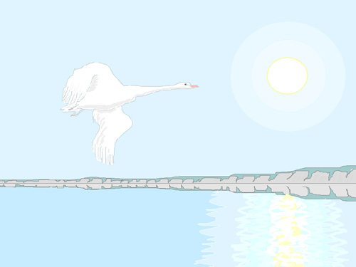 Лебедь над рекой